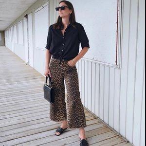 NWT ZARA   Leopard Print Mid Rise Culotte Wide Leg Jeans Sz. 2